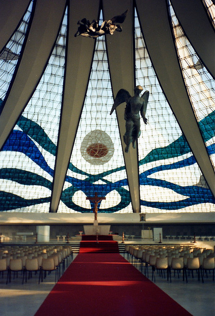 the inside of the Cathedral in Brasilia